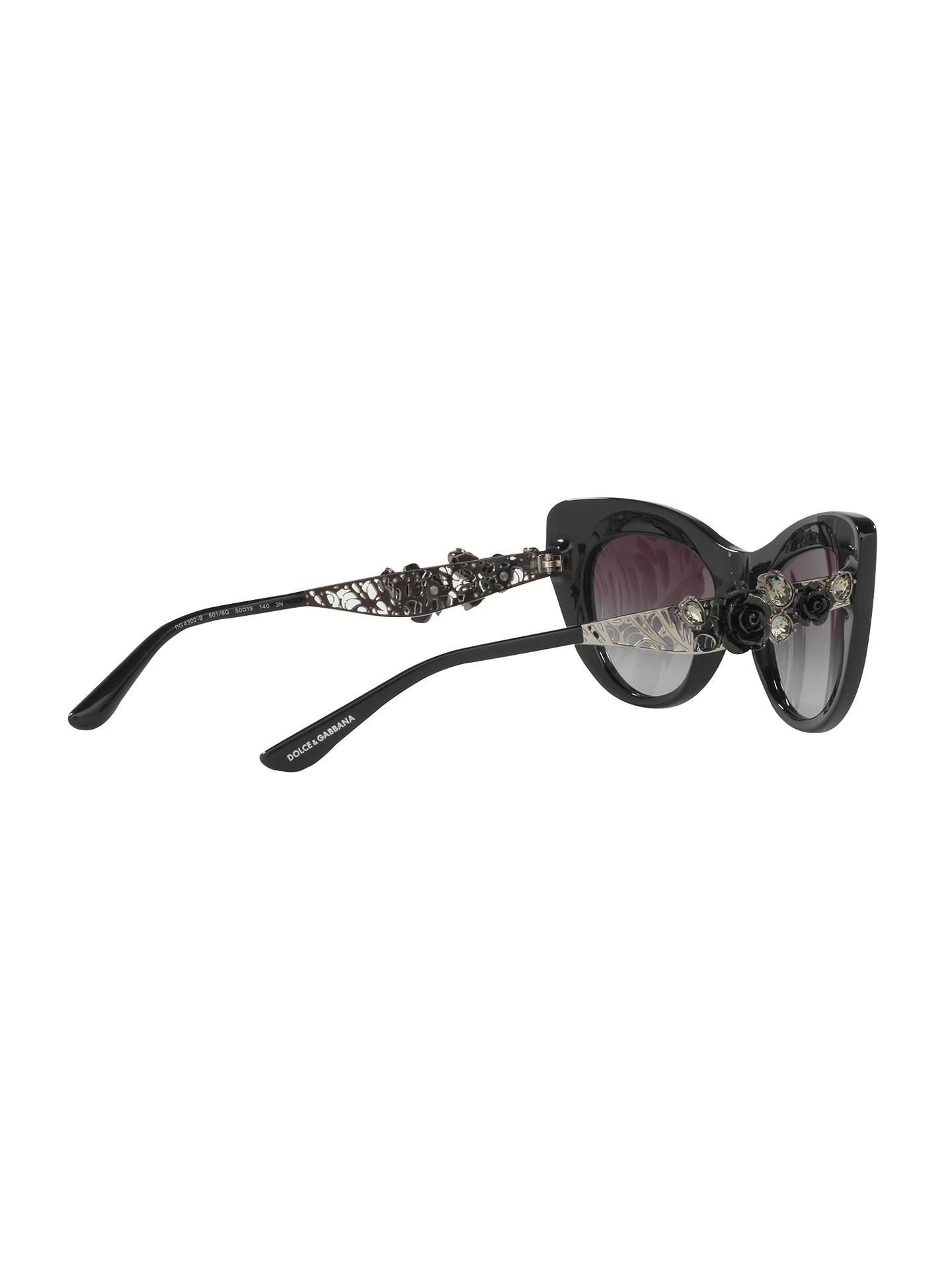 bf0bcd587586 ... Buy Dolce & Gabbana DG4302B Flower Detail Cat's Eye Sunglasses, Dark  Brown Online at johnlewis