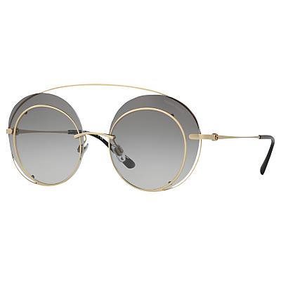 Giorgio Armani AR6043 Round Sunglasses, Gold/Grey Gradient
