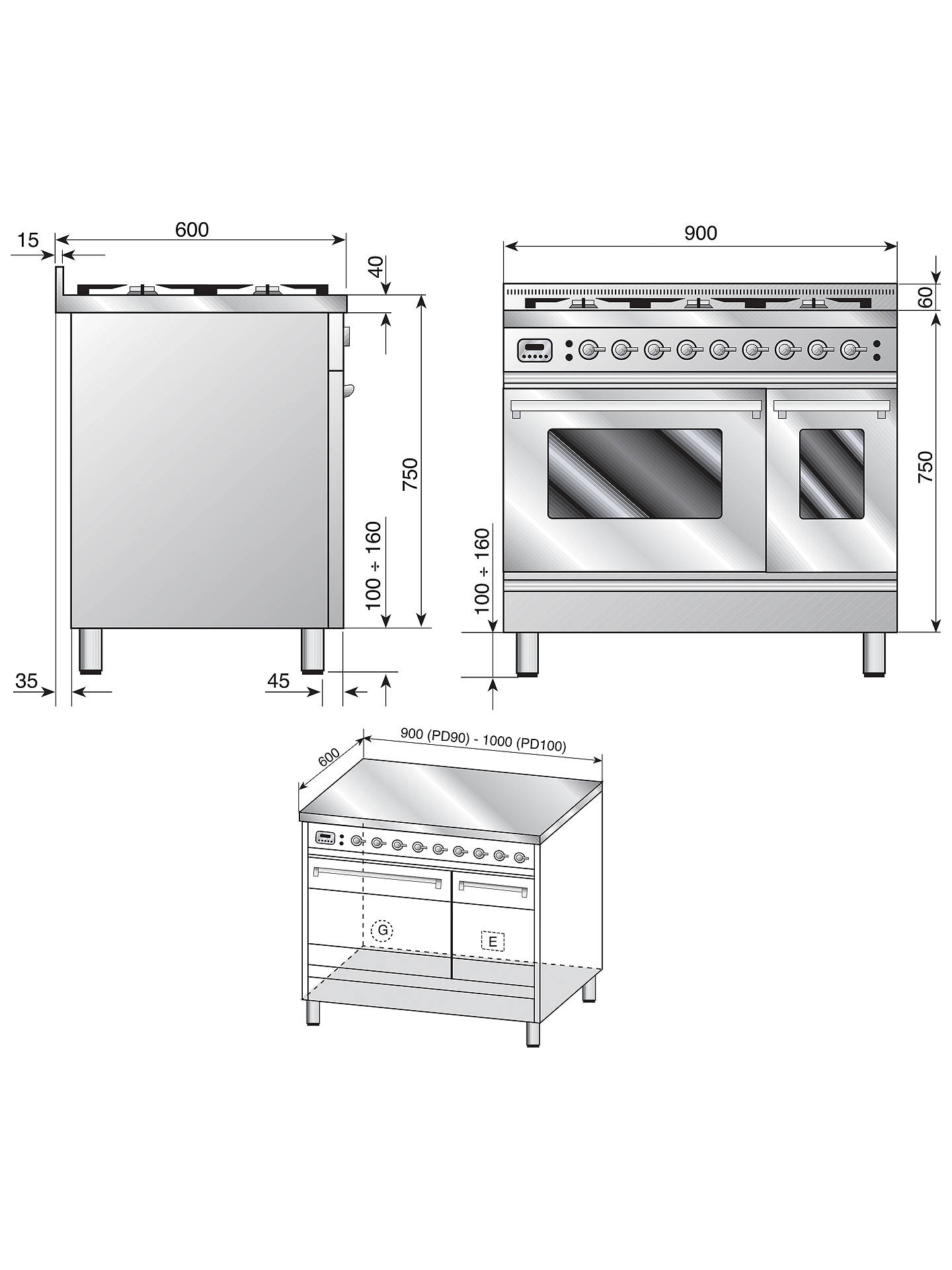 Buy ILVE PDW906E3/A Roma Freestanding Dual Fuel Range Cooker, Cream Online at johnlewis.com