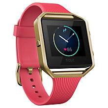 Buy Fitbit Blaze Gunmetal Wireless Activity and Sleep Tracking Smart Fitness Watch, Large, Pink/Gold Online at johnlewis.com