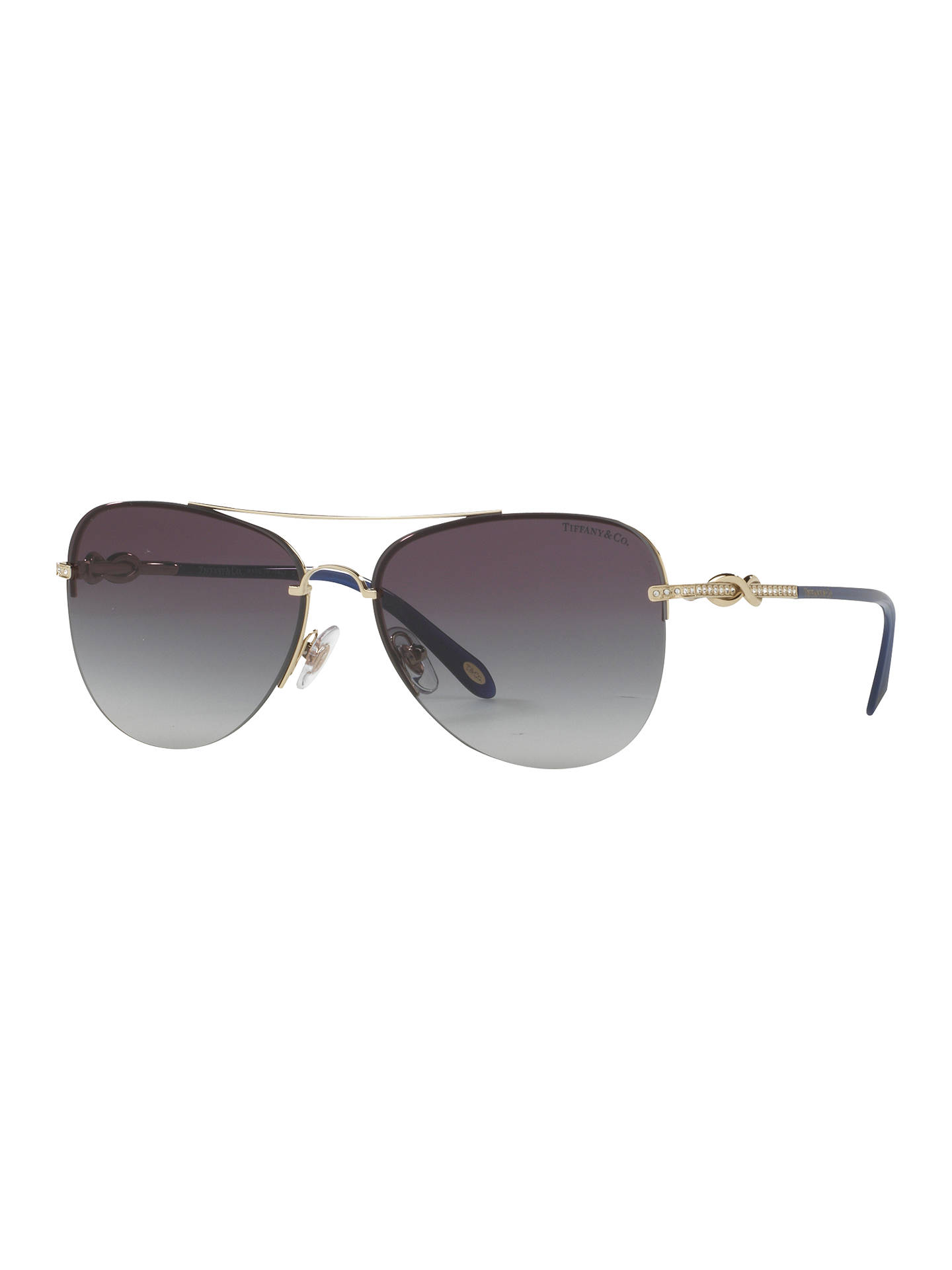 BuyTiffany & Co TF3054B Embellished Aviator Sunglasses, Gold/Grey Gradient Online at johnlewis.com