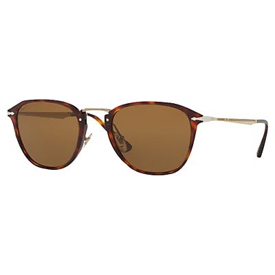 Persol PO3165S Polarised D-Frame Sunglasses, Tortoise/Brown
