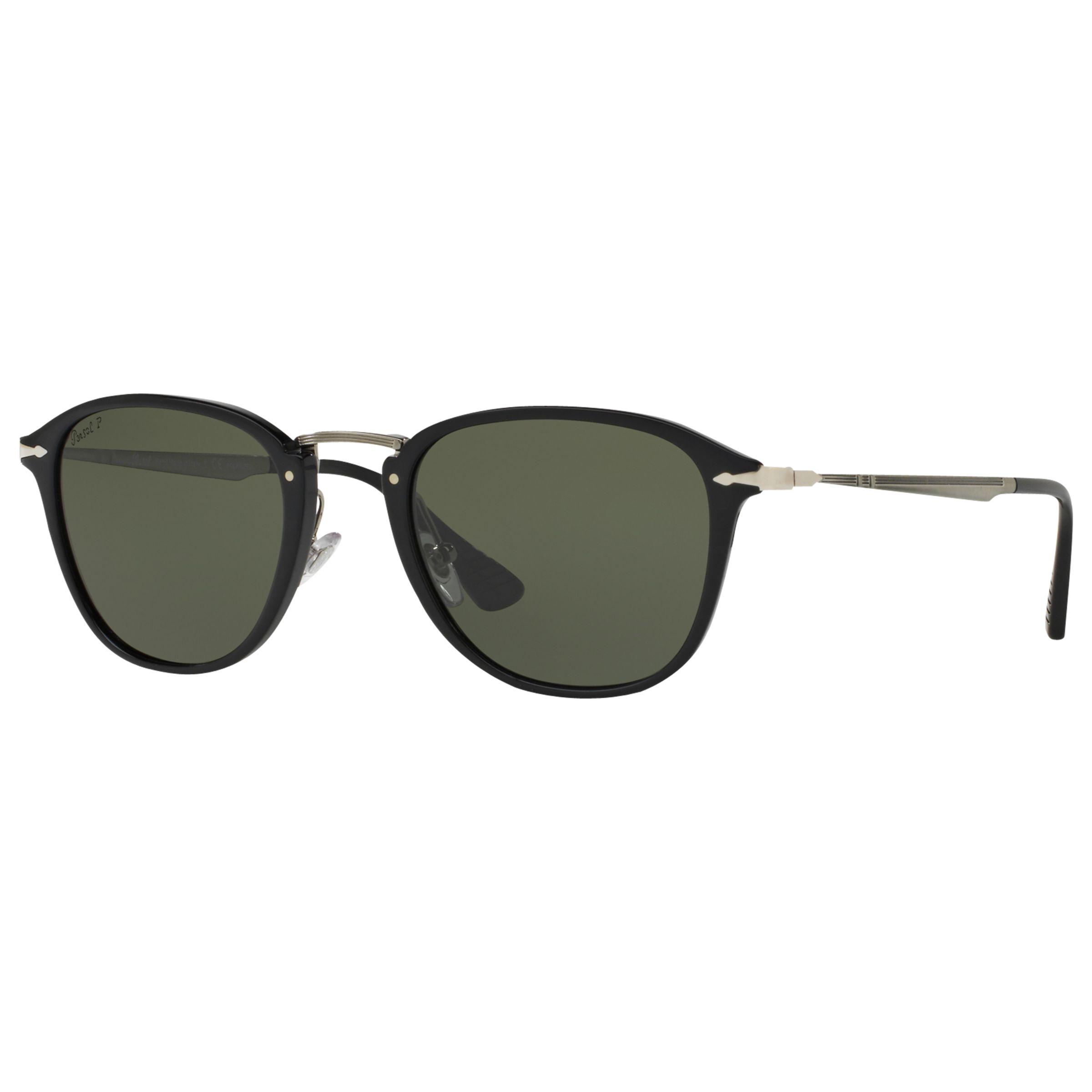 Persol Persol PO3165S Polarised D-Frame Sunglasses, Black/Dark Green