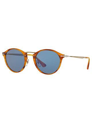 87c490530701 Persol PO3166S Calligrapher Edition Oval Sunglasses, Havana/Blue