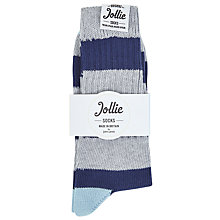 Buy Jollies Exclusive Ribbed Stripe Socks, One Size, Blue/Grey Online at johnlewis.com