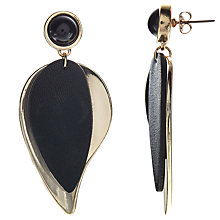 Buy John Lewis Leaf Drop Earrings, Black/Gold Online at johnlewis.com