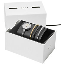Buy DKNY NY2577 Women's Bracelet Strap Watch and Bangles Gift Set, Silver/White Online at johnlewis.com