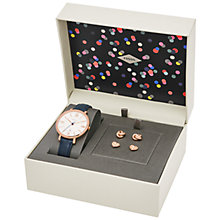 Buy Fossil ES4140SET Women's Jacqueline Leather Strap Watch and Earrings Set, Navy/White Online at johnlewis.com