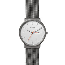 Buy Skagen SKW6321 Men's Ancher Day Date Bracelet Strap Watch, Gunmetal/White Online at johnlewis.com