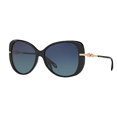Tiffany & Co TF4126B Polarised Embellished Cat's Eye Sunglasses, Polished Black/Blue Gradient