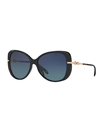 Tiffany & Co TF4126B Polarised Embellished Cat's Eye Sunglasses, Polished Black/Blue Gradient