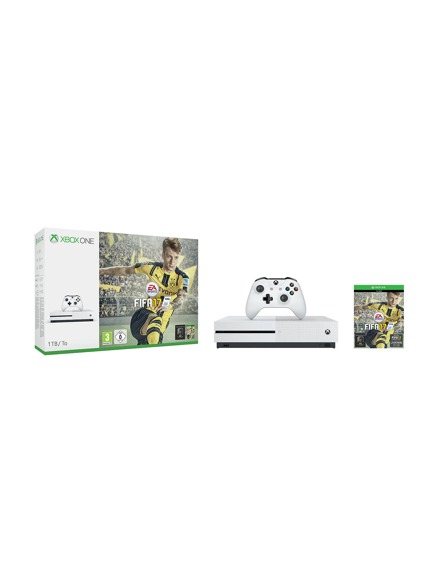 Microsoft Xbox One S Console, 1TB, with FIFA 17 Download