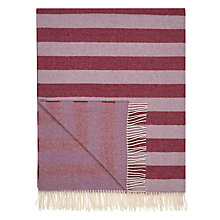 Buy John Lewis Herringbone Stripe Wool Blend Throw, Cassis Online at johnlewis.com