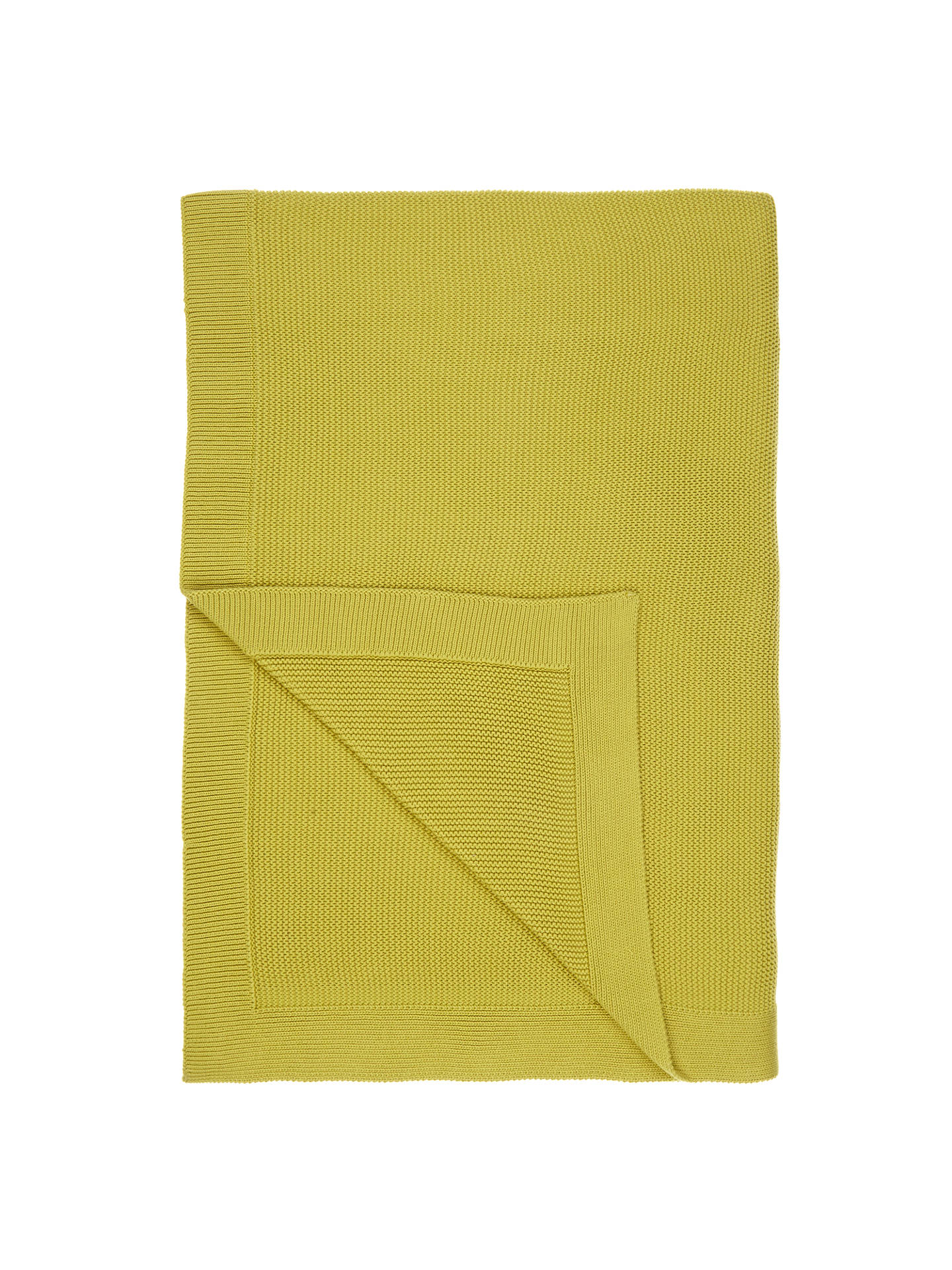 Buy John Lewis & Partners Rye Plain Knit Throw, L200 x W150cm, Green Online at johnlewis.com