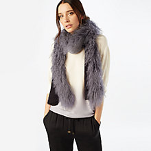 Buy Phase Eight Mongolian Faux Fur Trim Scarf, Charcoal Online at johnlewis.com