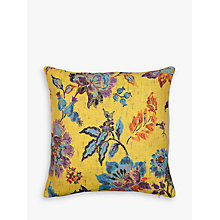 Buy John Lewis Leona Floral Cushion, Yellow Online at johnlewis.com