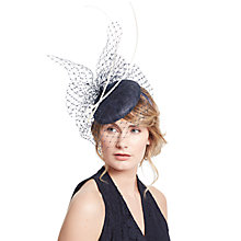 Buy John Lewis Remi Pillbox Veil Quills Fascinator, Navy/White Online at johnlewis.com