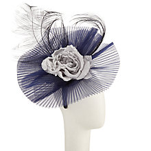 Buy Snoxells Heather Flower Knife Pleat Fascinator, Navy/Silver Online at johnlewis.com
