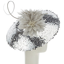 Buy Snoxells Cora Sequin Disc Occasion Hat, Silver Online at johnlewis.com