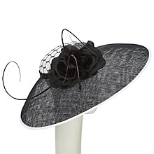 Buy John Lewis Stella Net Crown Disc Occasion Hat, Black/White Online at johnlewis.com