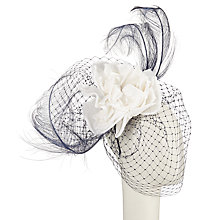 Buy Snoxells Brea Flower Veil Fascinator, Navy/White Online at johnlewis.com