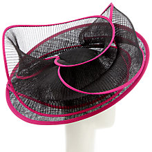 Buy Snoxells Tilly Pleat Disc Occasion Hat, Blk/Magenta Online at johnlewis.com
