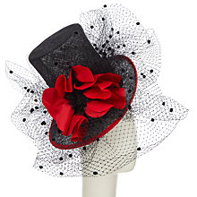 Buy Snoxells Willow Veil Occasion Top Hat, Black/Red Online at johnlewis.com