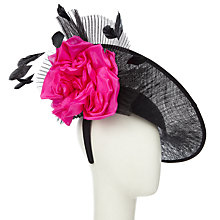 Buy Snoxells Liv Side Disc Flower Occasion Hat, Black/Fuchsia Online at johnlewis.com