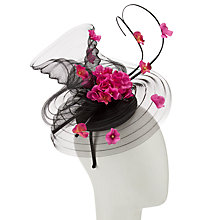 Buy John Lewis Sianne Crin and Flowers Fascinator, Black/Hot Pink Online at johnlewis.com