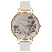 Buy Olivia Burton OB16FS86 Women's Florals Embroidery Pansy Leather Strap Watch, Blush Online at johnlewis.com
