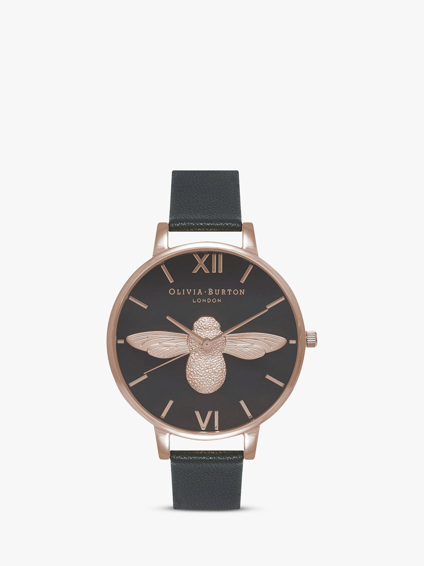357155ee280 Buy Olivia Burton OB16AM98 Women's Animal Motifs Bee Leather Strap Watch,  Black/Rose Gold ...