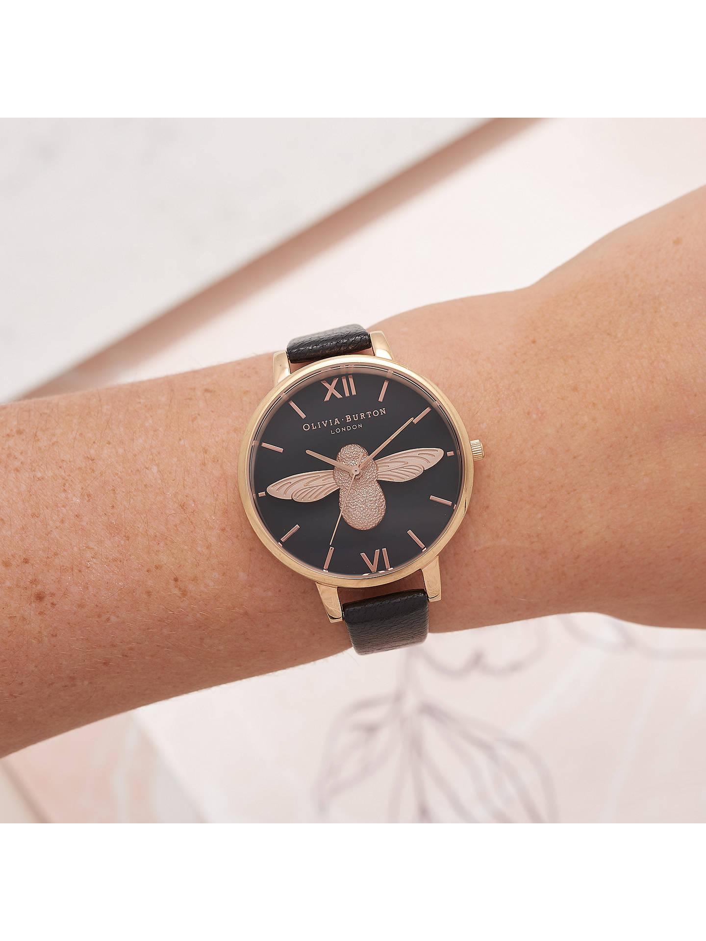 eb19e2d04 ... Buy Olivia Burton OB16AM98 Women's Animal Motifs Bee Leather Strap Watch,  Black/Rose Gold