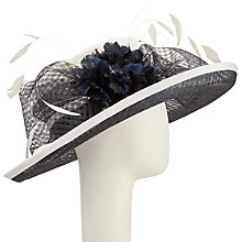 Buy John Lewis Iris Crown Occasion Hat, Ivory/Navy Online at johnlewis.com