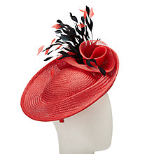 Buy John Lewis Ruby Straw Disc Feather Quills Occasion Hat, Red/Black Online at johnlewis.com