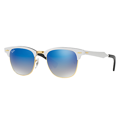 Ray-Ban RB3507 Clubmaster Square Sunglasses, Silver/Blue Gradient