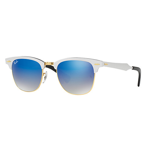 buy ray ban clubmaster  Buy Ray-Ban RB3507 Clubmaster Square Sunglasses, Silver/Blue ...
