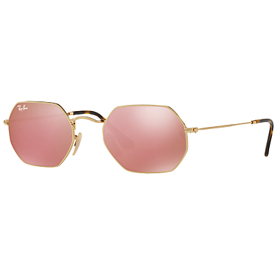 Ray-Ban RB3556N Heptagonal Sunglasses, Gold/Mirror Pink