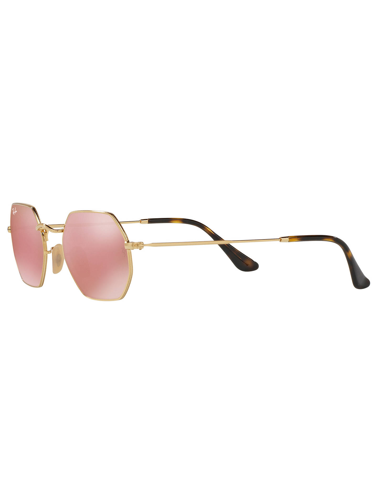 Buy Ray-Ban RB3556N Heptagonal Sunglasses, Gold/Mirror Pink Online at johnlewis.com