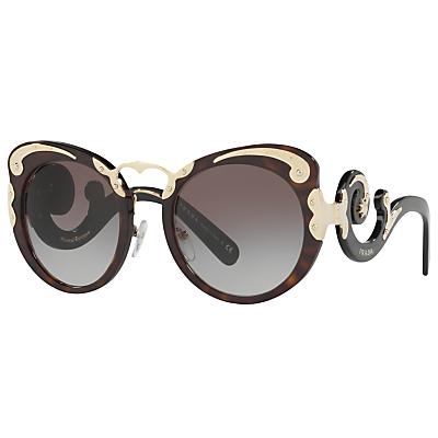 Prada PR 07TS Structured Round Sunglasses, Tortoise/Grey Gradient