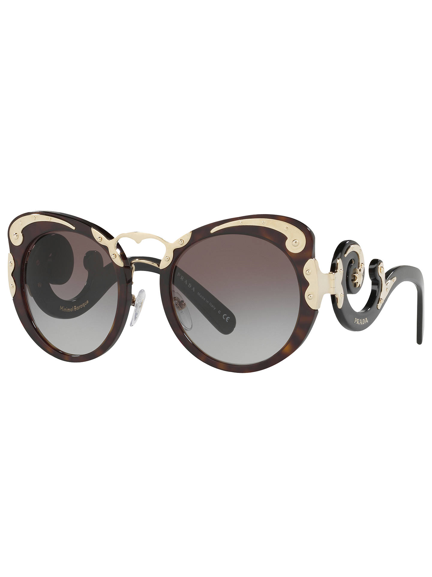 f163765f6f0c Buy Prada PR 07TS Structured Round Sunglasses, Tortoise/Grey Gradient  Online at johnlewis.