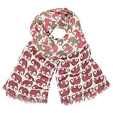Buy John Lewis Tribal Elephant Print Scarf, Red Mix Online at johnlewis.com