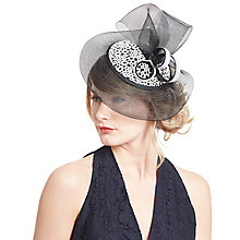 Buy John Lewis Lulu Embroidered Crin Pillbox Fascinator, Black/White Online at johnlewis.com