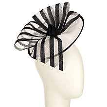 Buy John Lewis Maud Stripe Bow Disc Occasion Hat, White/Black Online at johnlewis.com
