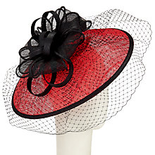 Buy John Lewis Anne Disc Veil Occasion Hat, Black/Red Online at johnlewis.com