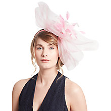Buy John Lewis Leia Checker Board Crin Feather Fascinator, Cream/Bubblegum Online at johnlewis.com