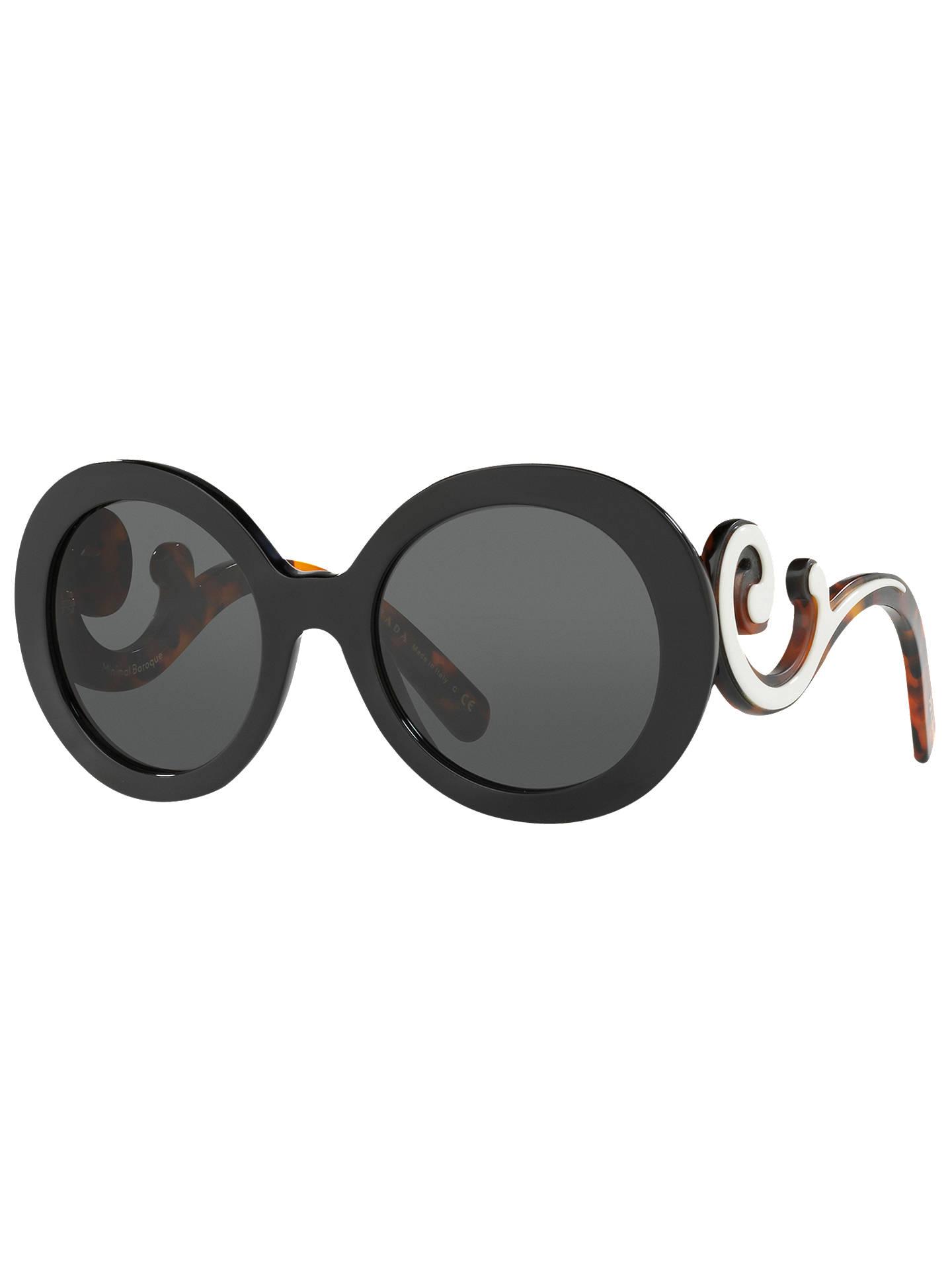 259d54c5223f ... ireland buyprada pr 08ts minimal baroque round sunglasses black online  at johnlewis 81a7b 2968f