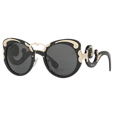 Prada PR 07TS Structured Round Sunglasses, Black