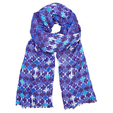 Buy John Lewis Batik Dog's Tooth Print Scarf, Blue Mix Online at johnlewis.com