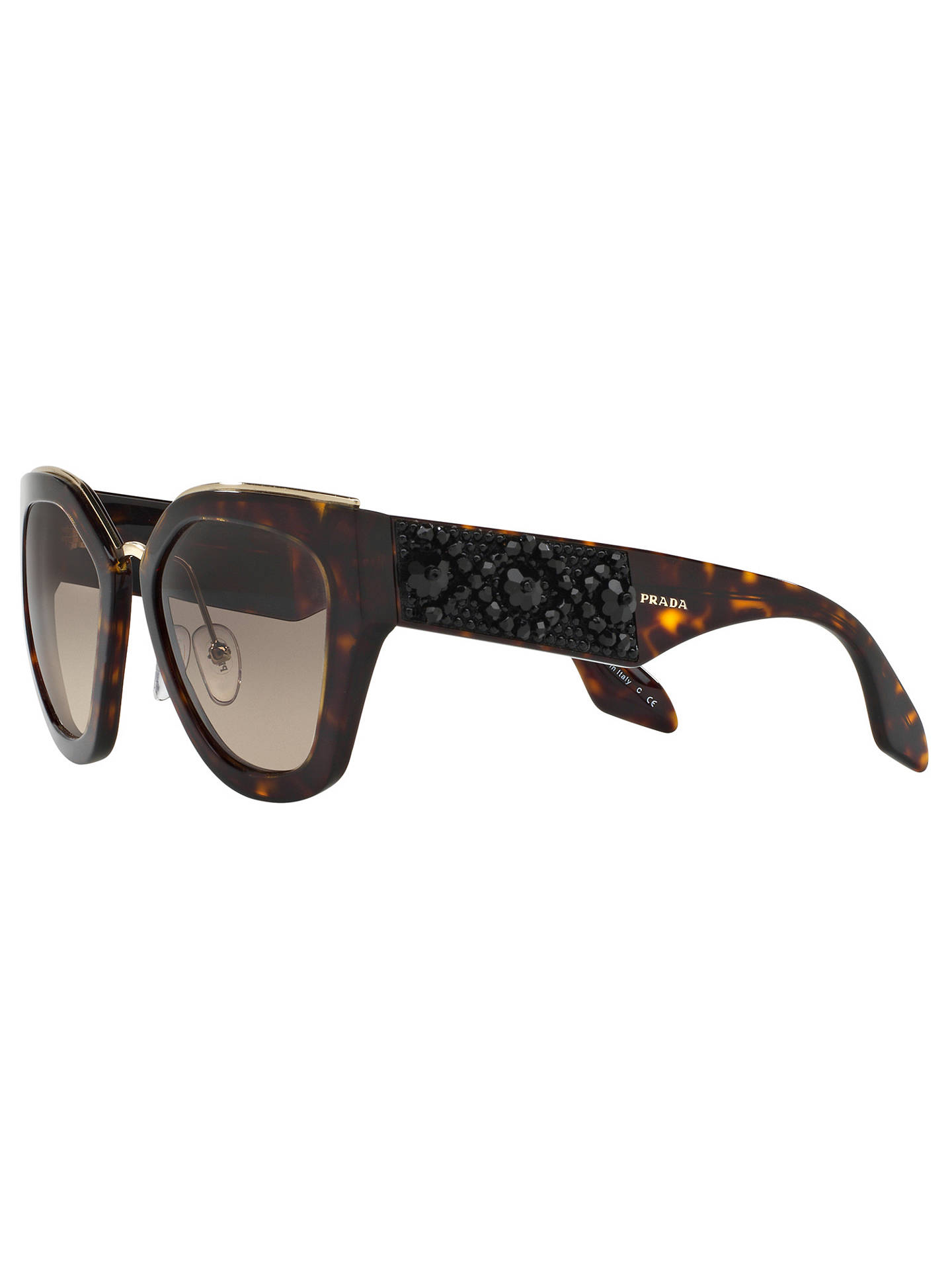 c3ae2871246b ... norway buyprada pr 10ts embellished geometric sunglasses tortoise brown  gradient online at johnlewis c9f00 d48c7