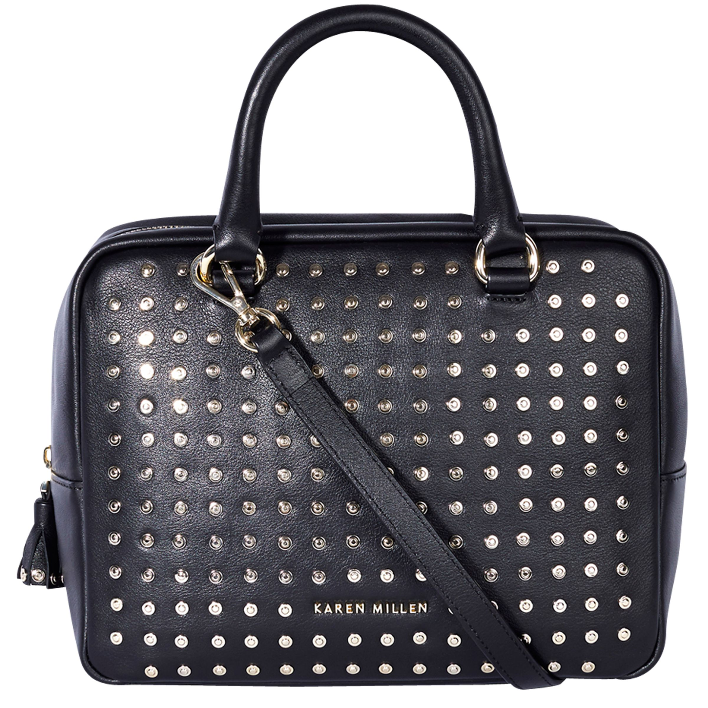 d9f0e58935 Karen Millen Large Leather Stud Bowling Bag, Black at John Lewis & Partners